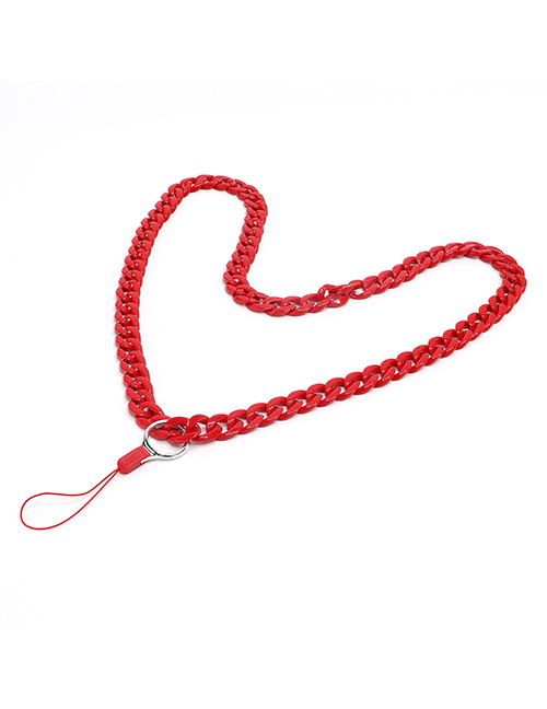 Fashion Red Acrylic Solid Color Chain Hanging Neck Mobile Phone Chain