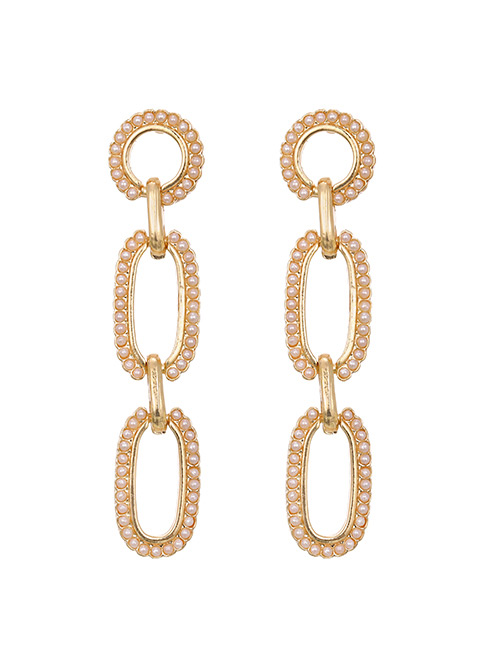 Fashion Golden Alloy Pearl Chain Stud Earrings
