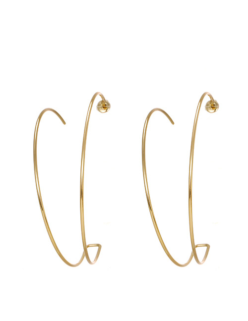 Fashion Golden Alloy Double Circle Earrings