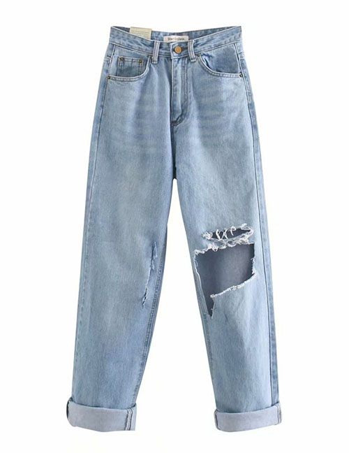 Fashion Blue Washed Ripped Wide-leg Jeans Trousers