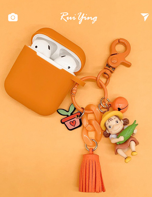 Fashion Tassel Section + Orange Earphone Cover Miyazaki Xiaomei Wireless Bluetooth Headset Silicone Case