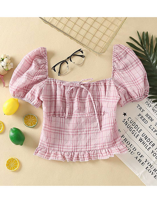 Fashion Pink Plaid Bow Sleeve Square Sleeve Shirt Top