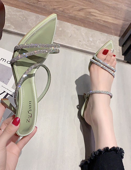 Fashion Green Slim-toe Rhinestone Pointed Toe Open Sandals