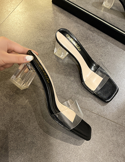 Fashion Black Thick Heel Non-slip Transparent Sandals