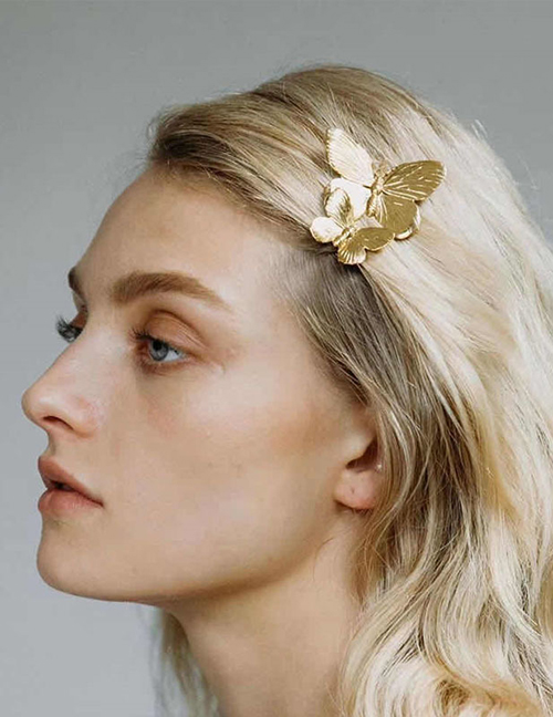 Fashion Golden Alloy Three-dimensional Butterfly Hairpin