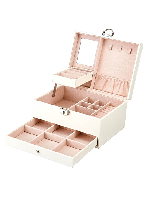 Fashion White Leather Jewelry Large Capacity Multilayer Jewelry Box