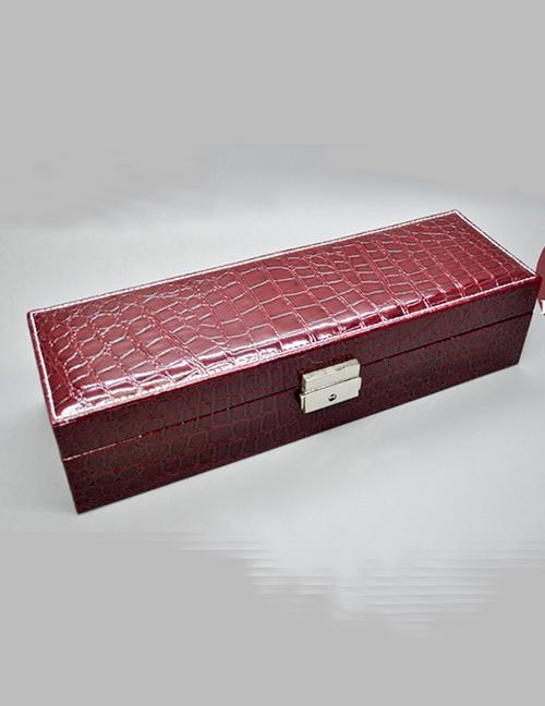 Fashion Purplish Red Snake-deer Suede Velvet Lining Leather Watch Box