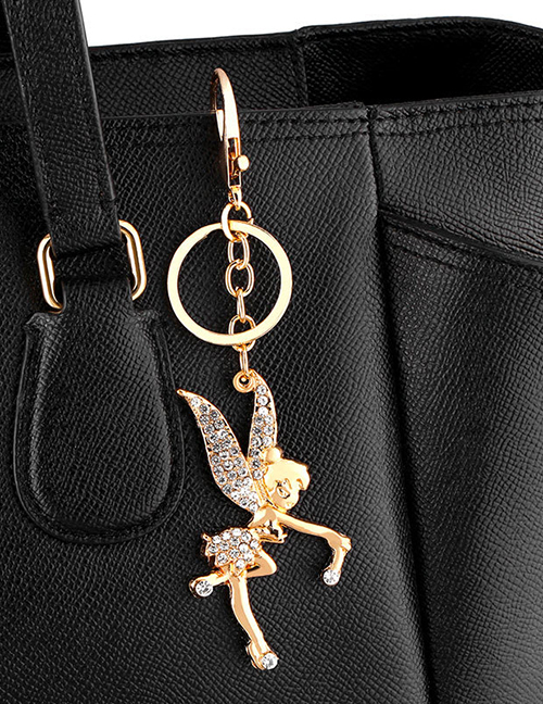Fashion Golden Angel Diamond Car Keychain