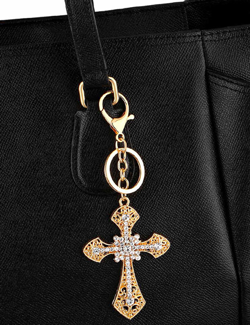 Fashion Golden Micro Inlaid Rhinestone Cross Car Keychain