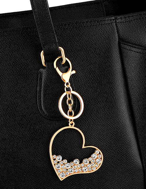 Fashion Golden Diamond Cutout Alloy Keychain