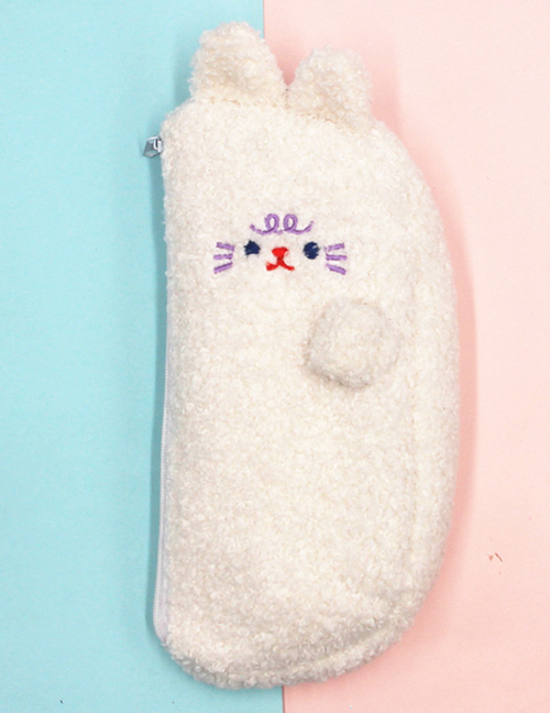 Fashion White Teddy Cashmere Bear Embroidered Pencil Case