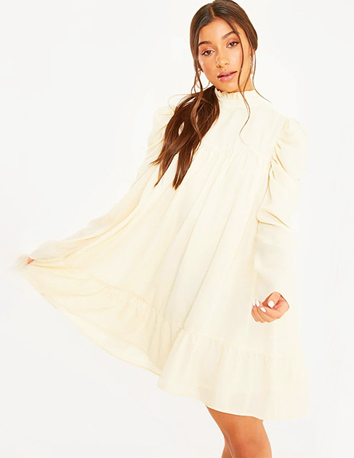 Fashion Beige Long Sleeve Stand Collar Pleated Dress