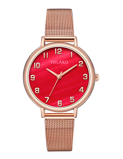 Fashion Red Womens Watch With Digital Mesh And Marble Mesh Alloy Belt