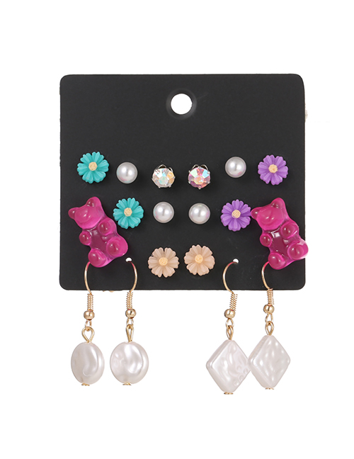 Fashion Color Mixing 9 Pairs Of Animal Love Earrings