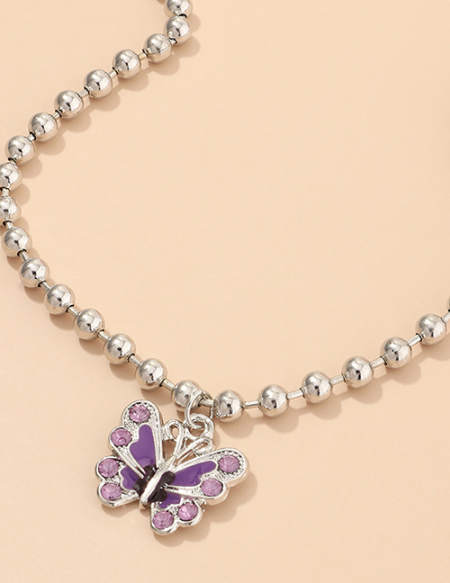 Fashion Purple Dripping Butterfly And Diamond Bead Alloy Necklace