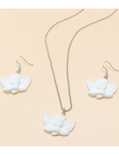 Fashion White Cupid Angel Round Bead Chain Necklace Earrings