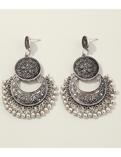 Fashion Ancient Silver Ancient Silver Pattern Tassel Alloy Earrings
