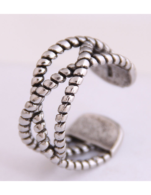 Fashion Silver Woven Cross Cut Open Ring