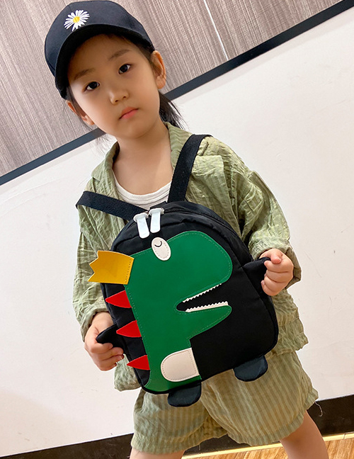 Fashion Black Little Dinosaur Stitching Contrast Color Childrens Backpack