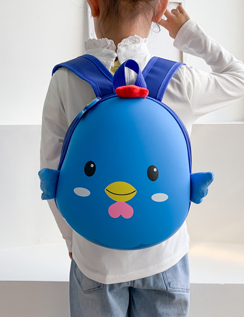 Fashion Chick Blue Printed Chicken Waterproof Eggshell Childrens Backpack