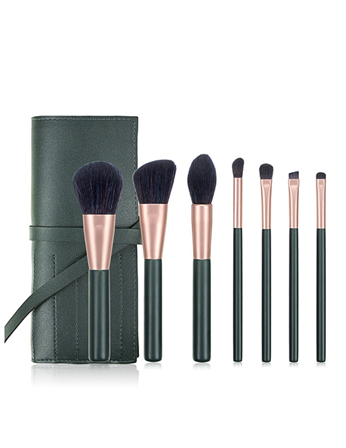 Fashion Dark Green Makeup Brush Set With Bag