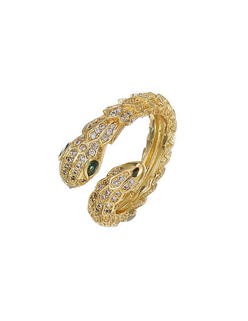 Fashion Golden Copper Inlaid Zircon Serpentine Ring