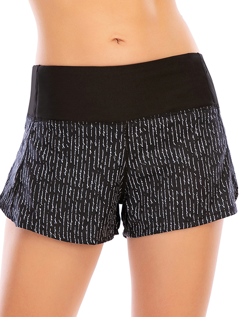 Fashion Black Printed Stitching Anti-glare Zipper Yoga Shorts