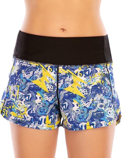 Fashion Blue Printed Stitching Anti-glare Sports Zipper Yoga Shorts