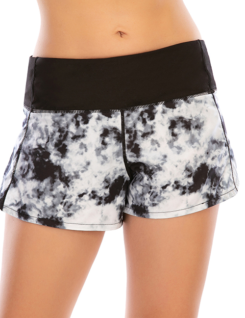 Fashion Black And White Printed Tie-dye Stitching Anti-glare Zipper Yoga Shorts