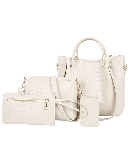 Fashion White Stone Pattern Solid Color Diagonal One-shoulder Mother And Daughter Bag