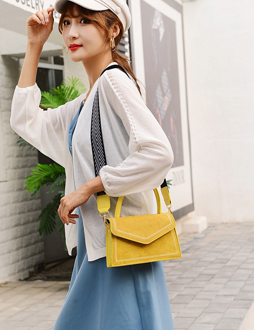 Fashion Yellow Frosted Wide Shoulder Strap Embroidery Thread One-shoulder Messenger Bag