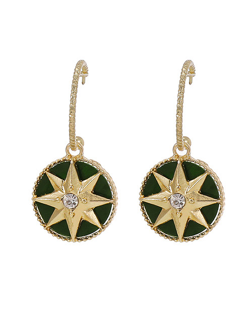 Fashion Dark Green Alloy Diamond Geometric Earrings