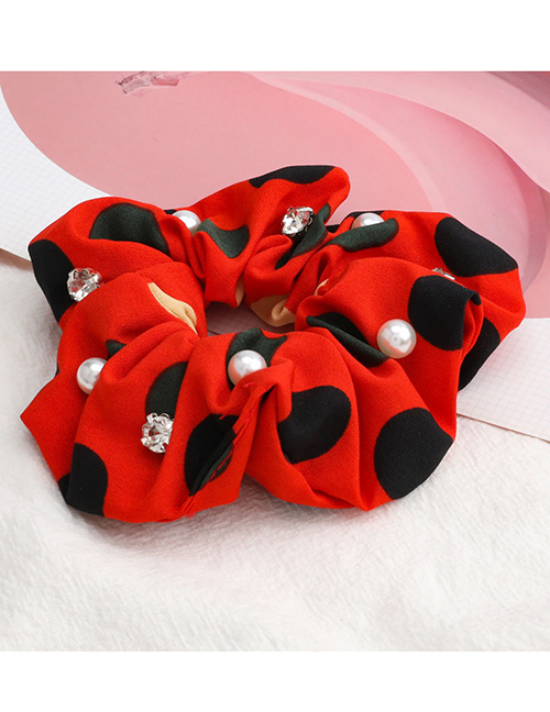 Fashion Red Large Polka Dot Color Matching Diamond Pearl Large Intestine Ring Hair Rope