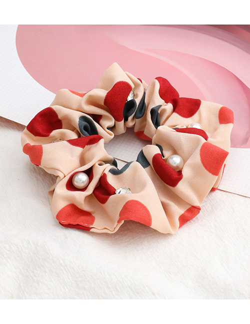 Fashion Beige Large Polka Dot Color Matching Diamond Pearl Large Intestine Ring Hair Rope