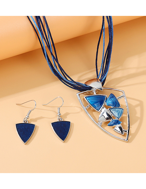 Fashion Blue Painting Oil Geometric Shape Alloy Hollow Necklace Earrings Set