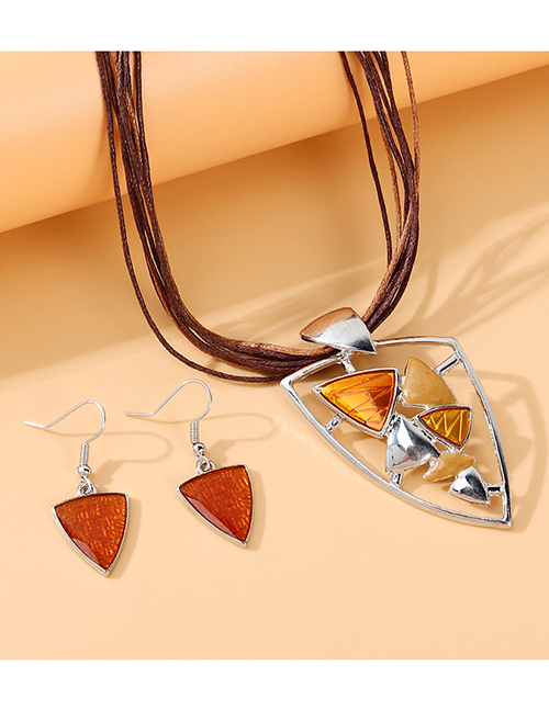 Fashion Brown Painting Oil Geometric Shape Alloy Hollow Necklace Earrings Set