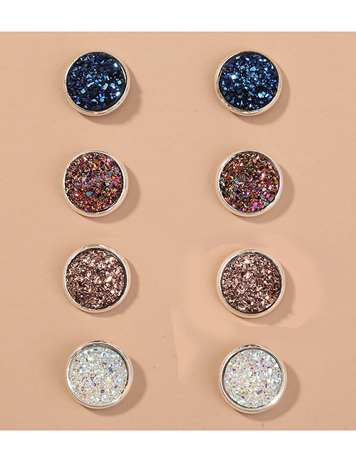 Fashion Color Mixing Resin Round Alloy Contrast Earrings Set