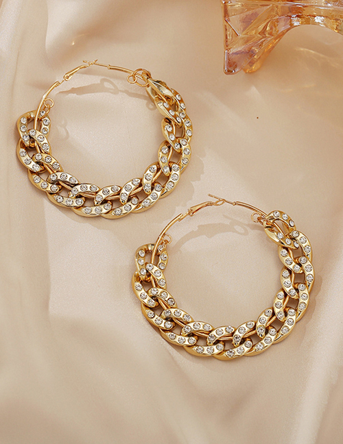 Fashion Gold Color Thick Chain Diamond Hollow Geometric Alloy Earrings