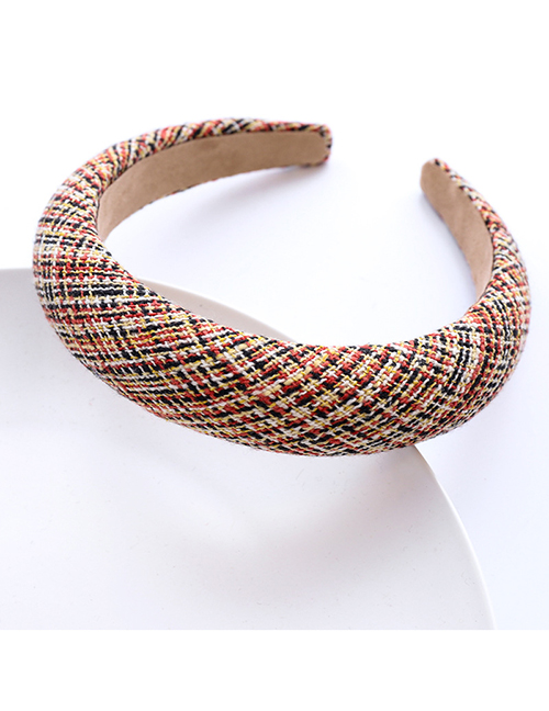 Fashion Red Check Wool Fabric Sponge Headband