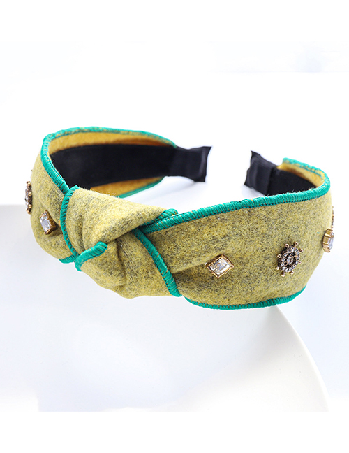 Fashion Yellow-green Flannel Flannel Diamond-studded And Knotted Geometric Wide-brimmed Headband