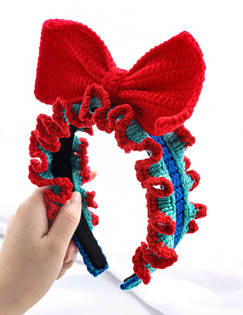 Fashion Red Contrasting Color Headband With Pleated Woolen Bowknot Knitted Wood Ears