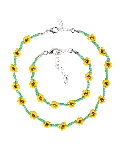 Fashion Green Beaded Flower Rice Bead Woven Contrast Color Necklace Bracelet