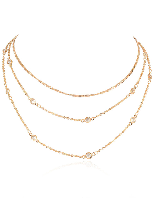 Fashion Gold Color Micro Diamond Alloy Multilayer Necklace