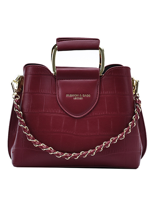 Fashion Red Wine Stone Pattern Chain Contrast Color One-shoulder Messenger Bag