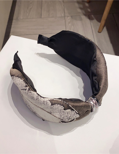 Fashion Coffee Color + White Leaves Leaf-print Diamond-studded And Knotted Wide-brimmed Headband
