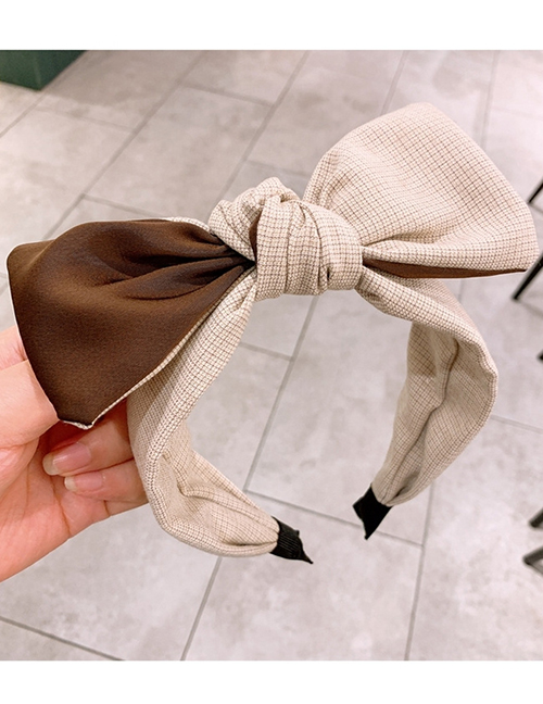 Fashion Beige Plaid Checkered Color-blocking Bow-knot Wide-brim Hair Band