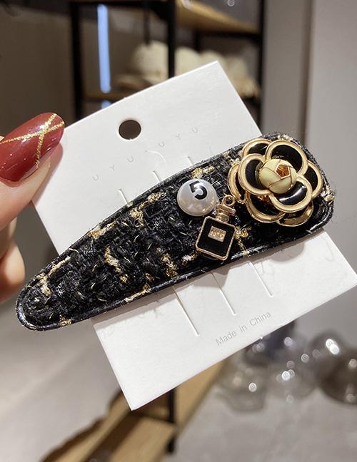 Fashion Flowers Black Acrylic Pearl Flower Oil Drop Alloy Geometric Hairpin