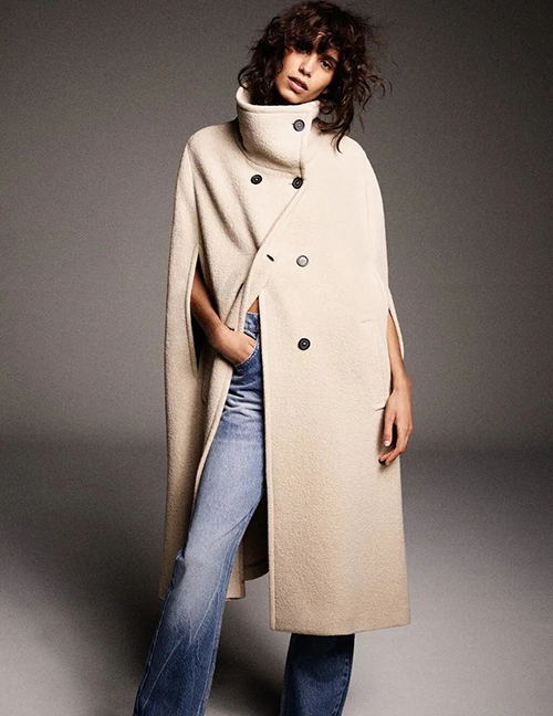 Fashion Nude Double-breasted Solid Color Sleeveless Cape Coat