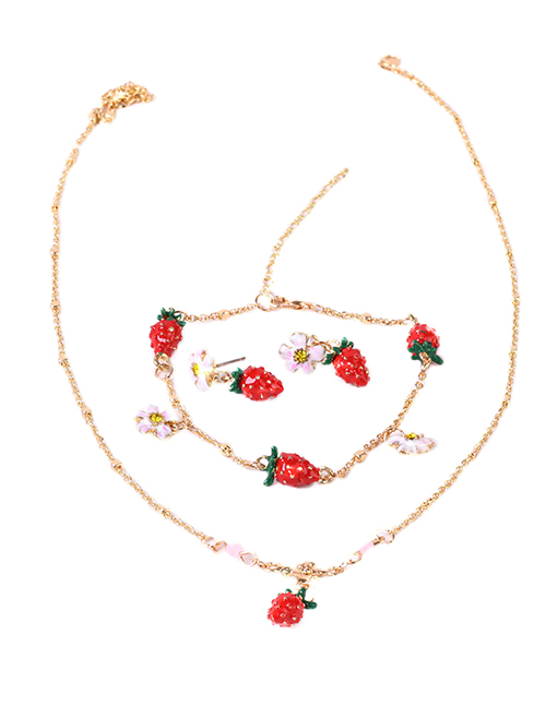 Fashion Strawberry Fruit Dripping Strawberry Necklace Bracelet Earrings Set