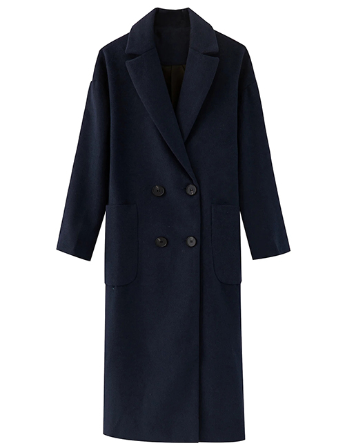 Fashion Navy Blue Double-breasted Solid Color Long Woolen Coat